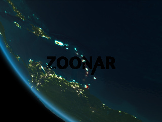 Caribbean at night from orbit