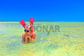 Snorkeler in Shark bay
