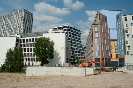 Berlin, Germany, new buildings and building site Heidestrasse in the Europacity