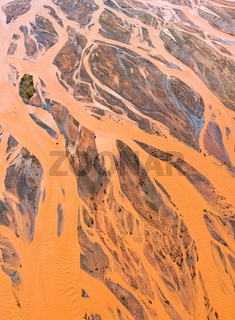 aerial view of orange riverbed