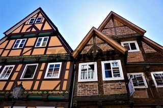 Colourful half-timbered houses in the old town of Celle