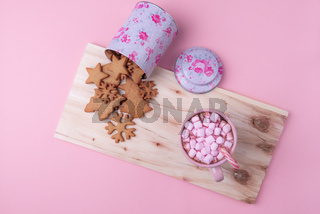 American winter sweets on a pink background