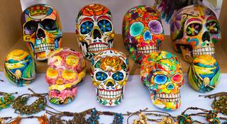 Bogota colorful ceramic skulls in mexican style