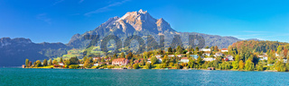 Coast of Lake Lucerne and Pilatus mountain panoramic view