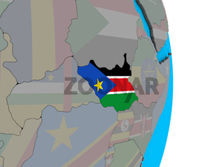 South Sudan with flag on 3D globe