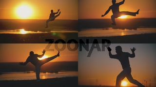 4 in 1 - Karate man is performed capoeira fighting in front of orange sunset
