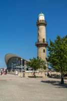 The Landmarks of Warnemuende, old lighthouse and building Teepott.