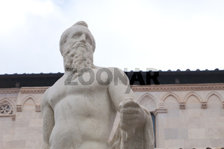 Carrara, Tuscany: close-up detail of the Neptune sculpture in Duomo square made by the world famous sculptor Baccio Bandinelli