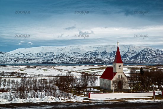 Staerri-Arskogskirkja on the road to Dalvik, Iceland