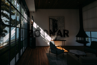 Contemporary Modern Dark Hardwood Room Interior Minimalistic Furniture Asian Styling