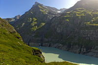 Artificial lake in a narrow mountain valley, Val de Bagnes, Valais, Switzerland