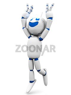 Happy jumping cartoon Robot