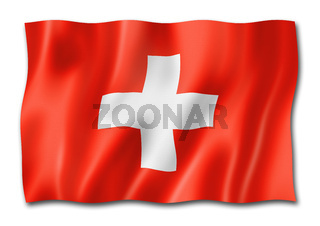 Swiss flag isolated on white