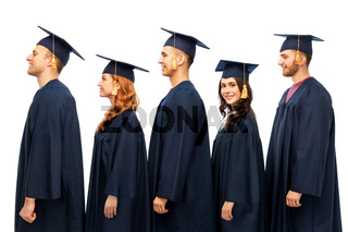 graduates in mortar boards and bachelor gowns