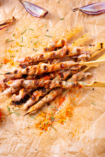 Fresh and crispy rustic pork belly grill sticks