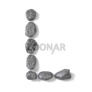 Font made of rocks LETTER L 3D