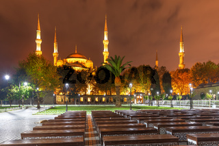 Sultanahmet or Blue Mosque in Istanbul, Turkey, night view