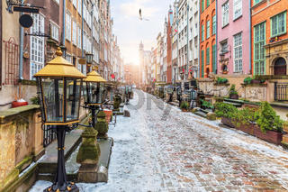 Old European Street Mariacka in Gdansk, Poland, morning view, no people