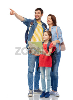 happy family with travel map and backpacks