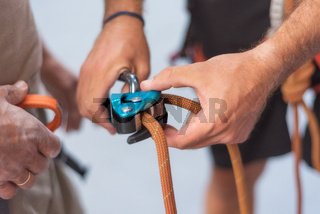 Wall climber close up climbing equipment