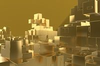 Wealth rich concept idea Golden city at sunset rays Abstract space background.3D illustration rendering