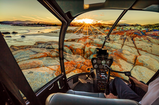 Helicopter in Bay of Fires