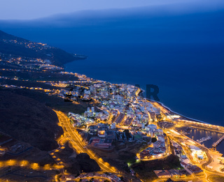 Cityscape of Santa Cruz (La Palma, Spain) at night