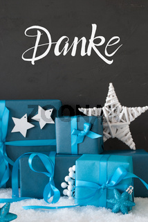 Turquois Gift, Snow, Danke Means Thank You, Star
