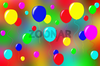 On a blurry colored surface colored bulk balloons