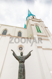 Bogota city christ with open arms and the Porciuncula church