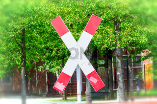 St. Andrew's Cross on a railroad crossing