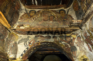 Jungfrau Maria mit dem Kind, Gemälde in der Felsenkirche Petros and Paulos Melehayzengi, Äthiopien