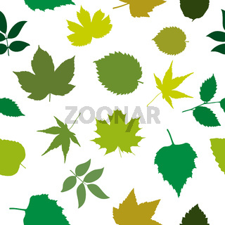 Seamless pattern with leaves of different plants. Modern random colors.