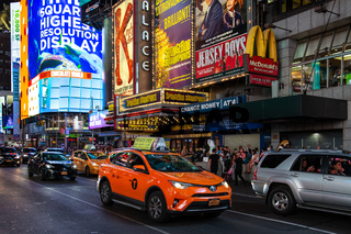 New York City / USA - JUL 13 2018: Times Square with busy traffic in midtown Manhattan