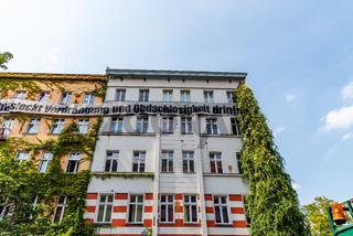 Abandoned and occupied building in Kreuzberg quarter in Berlin