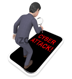 Hacker Cyberattack Malicious Infected Spyware 3d Rendering