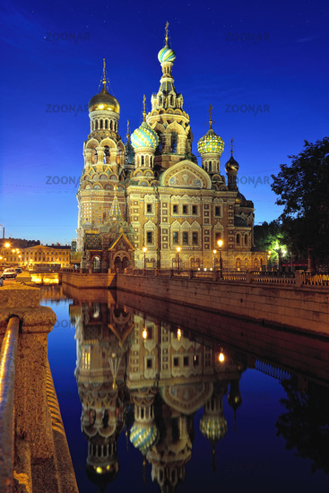 Church Savior on Blood in St-Petersburg, Russia.  Night view.