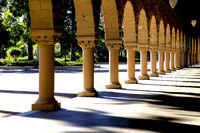 Covered arch way near the main Quad of Stanford University campus located