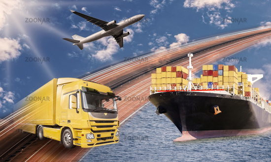 Transport by truck, ship and plane