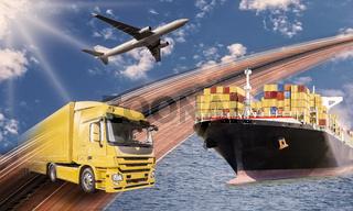 Transport mit LKW, Schiff und Flugzeug