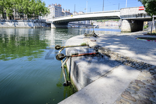 Electric scooters retrieved from the river, Lyon, France