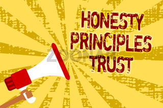 Conceptual hand writing showing Honesty Principles Trust. Business photo text believing someone words for granted Telling truth Man holding megaphone loudspeaker grunge yellow important messages.