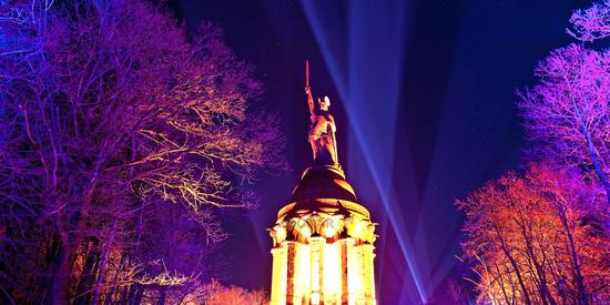 Illuminated Hermannsdenkmal, event Hermann lights, Detmold, Germany, Europe