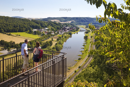 couple looks from the Skywalk on the Weser, Beverungen, North Rhine-Westphalia, Germany, Europe
