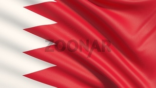 Flag of Bahrain. Waved highly detailed fabric texture.