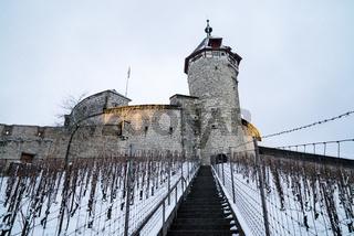 Schaffhausen, SH / Switzerland - January 5, 2019: Munot Castle and vineyards in Schaffhausen covered in snow in deep winter