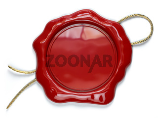 Red wax seal or stamp with copy space isolated on white background