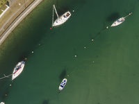 Boats in the estuary of Plentzia, Bizkaia, Basque Country, Spain