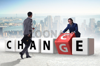 Businessman taking chance for change