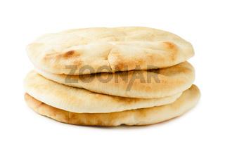 Israeli, geek flat bread pita isolated